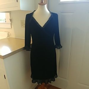 BOSTON PROPER Stretchy Black Velvet Dress sz M